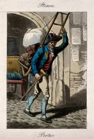 view A man is carrying bags and bundles on his back. Coloured etching.