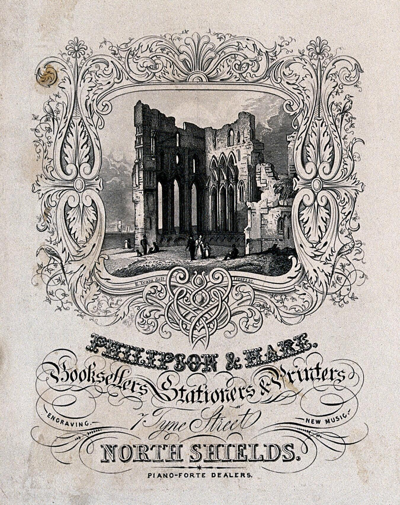 A ruined abbey, with an ornate border  Engraving by Lizars