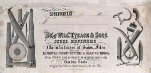 view Steel saws, scythes, and other edged implements in steel. Engraving by W.H. Lizars.