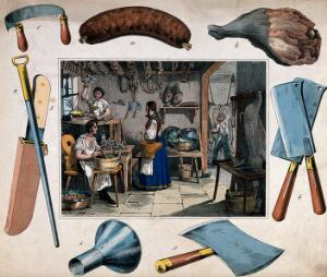 view A pork-butcher's shop: two butchers are working with knives and cleavers as another makes sausages, a woman has come to buy and is holding some money in her hand. Coloured etching, 18--.