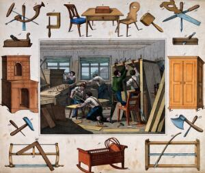 view Six men are working with saws, drills, hammers and vices making chairs, cabinets shelves and cradles. Coloured etching.