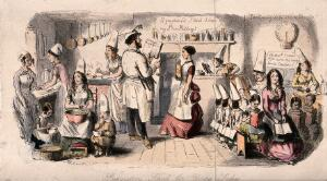 view Young ladies in cook's hats are in a kitchen being instructed in the art of cooking. Coloured etching by John Leech.