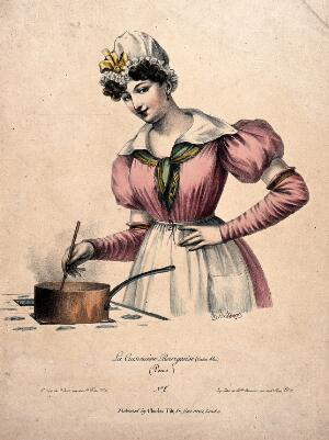 view A young woman wearing a mob cap is stirring the contents of a saucepan on a stove. Coloured lithograph by Charles Philipon.