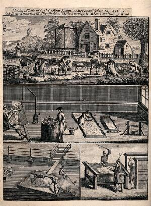 view People dipping sheep in the river and shearing them in the field, then washing, beating and combing the wool. Engraving.