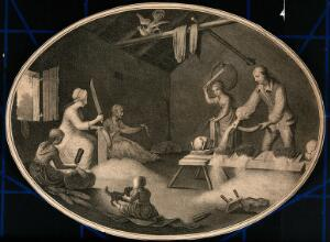 view Four women with knives and wooden paddles are cutting and beating the wool and a man is putting it through a combing device. Stipple engraving.