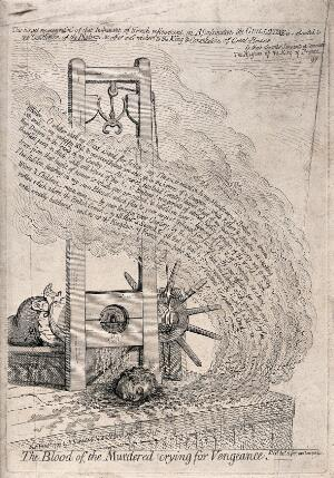 view The head of King Louis XVI being cut off by a guillotine. Etching by James Gillray, 1793.