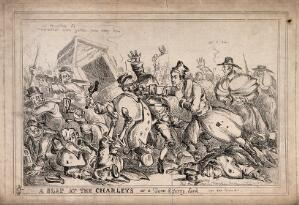 view Robert Peel as a pugilist attacking night watchmen with the intention of replacing them by the police force. Etching by Paul Pry (W. Heath).