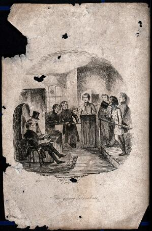 view A young man stands in a witness box with policemen and others around him. Process print after Cruikshank.