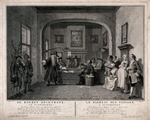 view A courtroom hearing a paternity suite: a lawyer pleads for his client before the bench. Engraving by P. Tanjé, 1752/1761, after C. Troost.