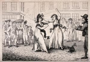 view Two women are fighting in the street as acrowd cheers them on. Etching, 17--.