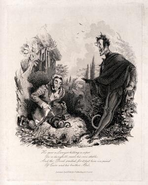 view A lawyer sticking knives into a snake: the devil looks on. Etching by T. Landseer, 1831.
