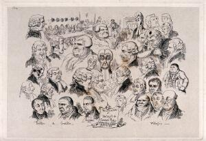 view Heads of different types of people in connection with the law. Etching by George Cruikshank after himself.