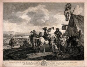 view Men have arrive at an encampment on horses, one is blowing a bugle and another is persuading a young woman to have a drink. Engraving by Beaumont after P. Wouwermens.