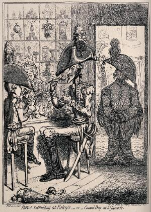 view Two men in soldier's uniform sit at a counter eating food as another stands by the door. Process print after James Gillray.