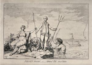 view A woman sits with her arm outstretched towards a man holding a spear and a trident, with a lion on the ground at his feet and a man rising out of the sea. Etching.