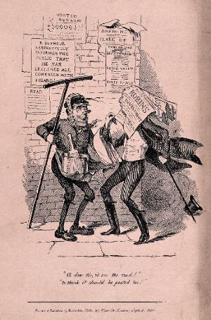 view A man pasting posters on to a wall: one poster has covered a man in coat tails, knocking his hat to the ground. Line block print after R. Seymour.