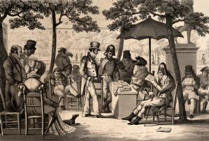 view Men and woman are sitting at tables in the open air reading newspapers. Aquatint.