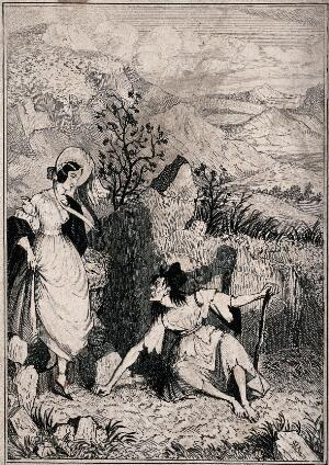view Mary Brotherton encounters Old Sally, a woman on the moor. Line block after R.W. Buss, 1840.