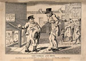 view A prosperous cobbler in Grub Street recommends his shop to a hungry poet. Etching by I. Cruikshank, 1808.