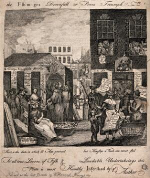 view Crowds of people are gathered in the streets around fishmonger stalls. Etching.