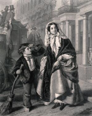 view A boy sweeping the street with a broom touches his forelock as a woman crosses the street, holding up her skirts. Engraving by C.W. Sharpe, 1864, after W.P. Frith, 1858.