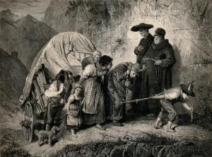 view A homeless family are pulling a covered wagon up a steep mountain side, on the path they pass two priests in cassocks, carrying crosses. Wood engraving after M. Schmid.