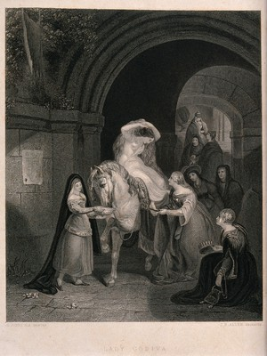 view The semi-naked Lady Godiva sitting on a horse having slippers put on her feet by another woman. Engraving by J.B. Allen after G. Jones.
