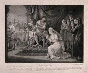 view Lady Godiva interceding for the people of Coventry. Engraving by C.G. Playter after W. Hamilton.