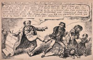 view A man who claims to be a philanthropist kicks out at a starving family who have asked for help. Process print after G. Cruikshank, 1848.