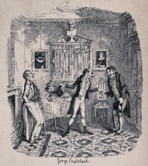 view One man with a top hat is putting money into the hand of another as all three laugh uproariously. Process print after George Cruikshank.