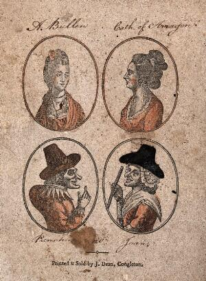 view Two women with elaborate hairstyles and necklaces (designated as Anne Boleyn and Catherine of Aragon) and two others wearing hats and fancy dress (Punch and his wife Joan). Coloured wood engraving.