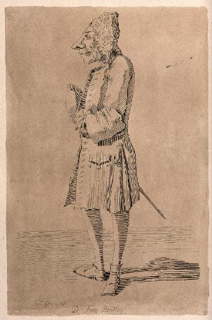 view Dr Thomas Bentley wearing a wig and a sword. Etching by A. Pond after P.L. Ghezzi.