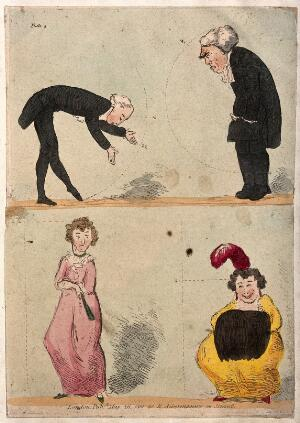 view A man is being taught how to bow, and a woman how to curtsey. Coloured etching.