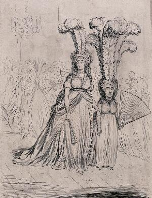 view A tall woman wears short feathers in her headdress and a short woman wears tall feathers in hers. Etching by James Gillray after himself.