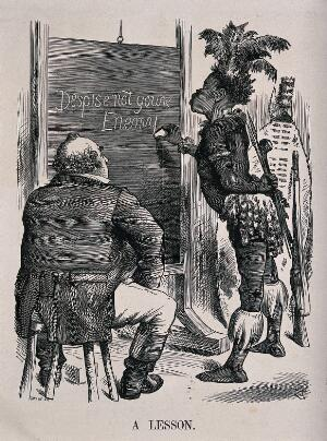 """view A fat complacent Briton sits on a stool while a Zulu man writes """"Despise not your enemy"""" on a blackboard. Wood engraving by Swain after J. Tenniel, 1879."""