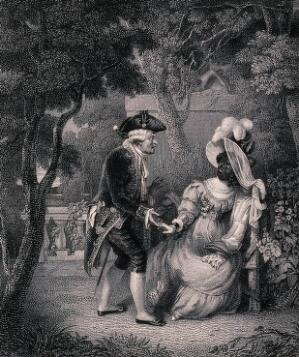 view A white man approaches a woman sitting on a bench in a garden, and when she turns her face to him he sees that she is black. Engraving by S. Davenport after R.W. Buss.