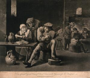 view A man plays on a musical instrument as others sit around at tables with glasses and pitchers on them, an old woman is reading from a sheet of paper. Mezzotint by N. Pether after David Teniers.