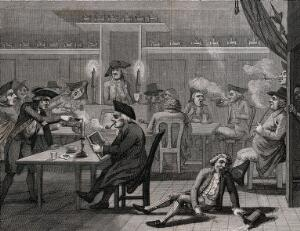 view Groups of men sitting at tables smoking and having a merry time: one man has fallen to the floor and spilled his tankard of ale. Etching by J. Barlow, 1790, after S. Collings.