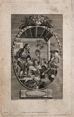 view A strange looking man on a stage is being cheered on by his audience. Engraving by C. Grignion after R. Smirke.