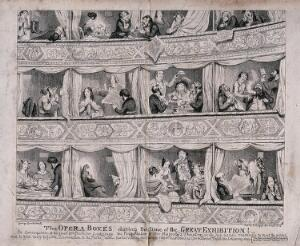 view People living in opera boxes and using them as hotels during the Great Exhibition in London. Etching by George Cruikshank, 1851.