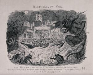 view Crowds of people are gathered in a fairground to watch the attractions in side stalls; figures of demons hold forks and sheets of paper. Etching by George Cruikshank after himself.