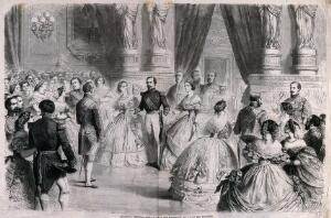 view A ball in the Palais des Tuileries: the Emperor Napoleon III and the Empress Eugénie (?) take part in a quadrille. Wood engraving by Charles Maurand after Gustave Janet.