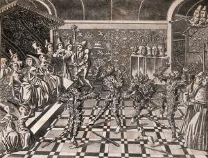 view A masquerade in which King Charles VI of France and some others, dressed as wildmen in shaggy costumes, are nearly burned to death by accident. Aquatint by J. Harris after J. Froissart.
