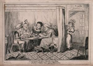 view Four elderly ladies sitting around a table gossiping; another woman listens from behind a curtain and looks rather shocked. Etching by George Cruikshank after EHL.