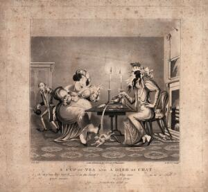 view Two women sit at a table drinking tea and gossiping, so taken up with what they are saying that the tea is accidently poured on the cat. Aquatint by G. Hunt after M. Egerton.