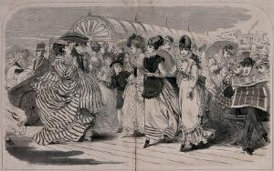 view Crowds of people are out walking on Brighton pier: a woman is being pushed in a bath chair, a large lady is carrying a parasol ,and three young women are being scrutinised by a variety of men. Wood engraving.