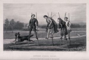 view Four children play on stilts in the park as a dog runs beside them. Engraving by W. Greatbach after C.E. Perugini.