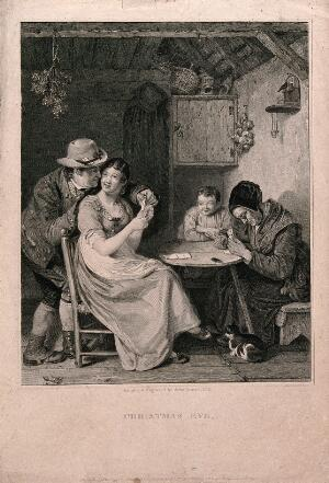 view A family playing cards: the husband is looking over his wife's shoulder at her cards, the child is smiling but the old lady seems to have fallen asleep. Engraving by John Burnet after himself.