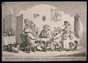 view University lecturers at Christmas playing cards. Etching after H. Bunbury.