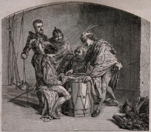 view Soldiers sit around an upturned drum playing a game with dice. Etching by W. Armstrong.